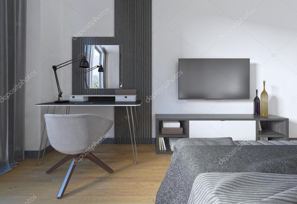 Toaletka I Krzesło W Nowoczesnej Sypialni Zdjęcie Stockowe