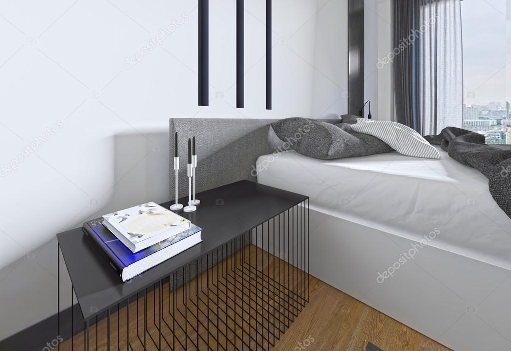 Toll Designer Nachttisch Mit Dekor In Einem Modernen Schlafzimmer U2014 Stockfoto