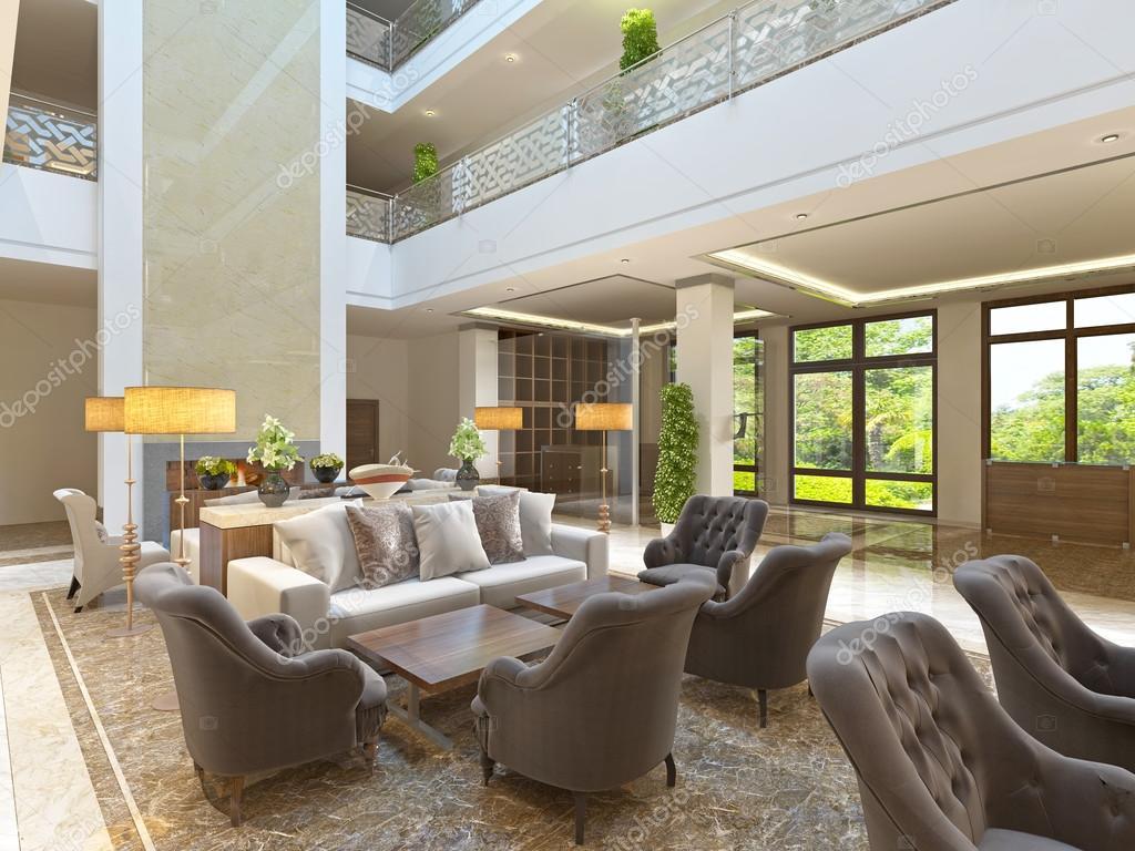 El diseño interior de la zona de salón con chimenea — Fotos de Stock ...