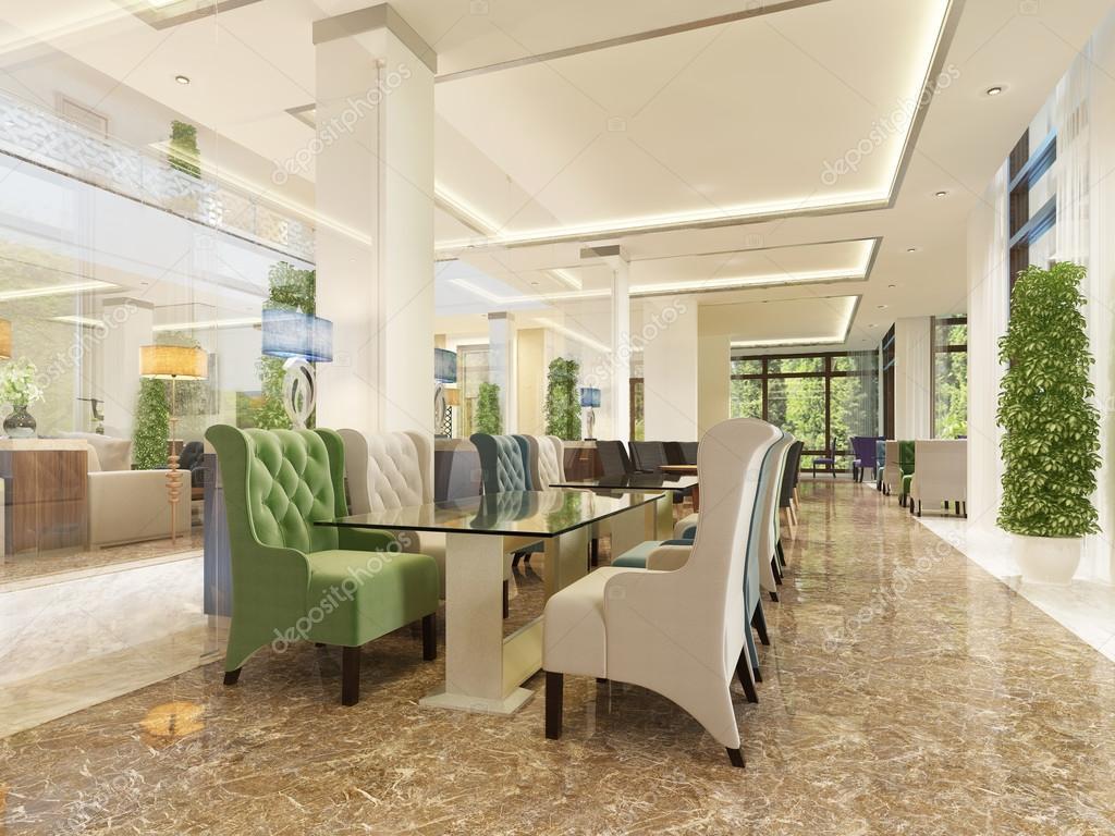 Il design degli interni dellhotel, sala colazione e cocktail bar ...