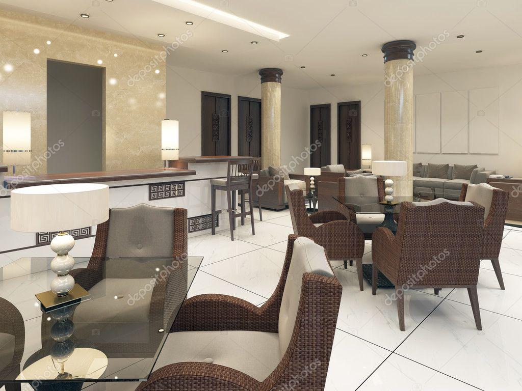 Modernes Design Frühstücksraum mit Rattan-Möbeln — Stockfoto ...