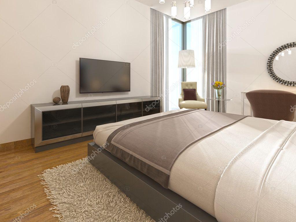 Moderne TV-Gerät in einem Hotelzimmer des Art Deco — Stockfoto ...