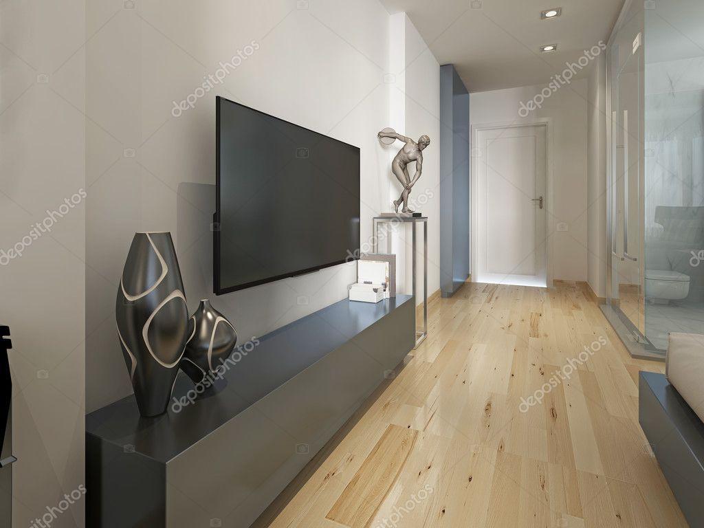 Moderne TV-Gerät mit der Dekor-Figur, modernes Wohnzimmer ...