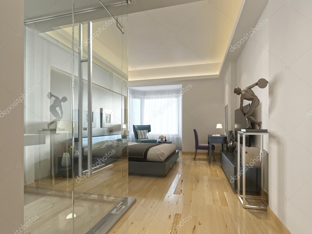 Ein Luxus Hotelzimmer In Ein Zeitgenössisches Design Mit Glas Und  See Through Bad. 3D Render U2014 Foto Von Kuprin33