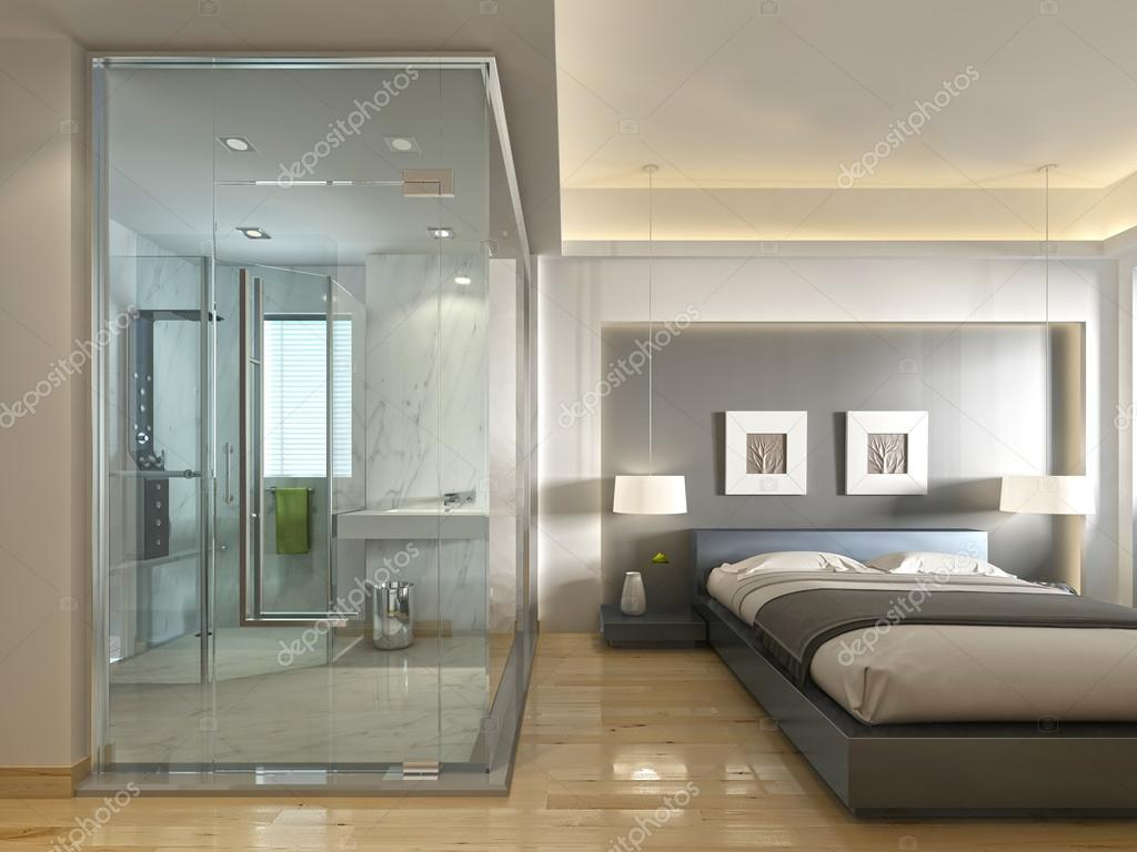 Une chambre d\'hôtel de luxe dans un décor contemporain, avec salle ...