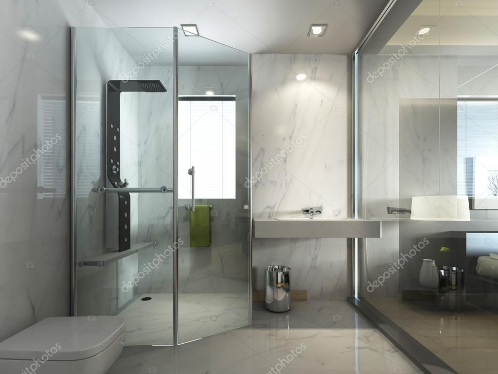 Transparentes Glas Badezimmer mit Dusche und Wc — Stockfoto ...