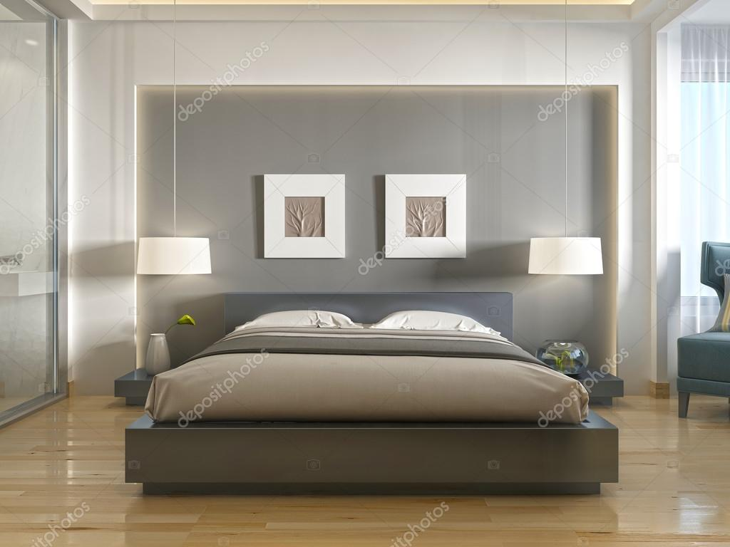 vista frontal del moderno cama doble con un hueco en la cabeza foto de stock kuprin33. Black Bedroom Furniture Sets. Home Design Ideas