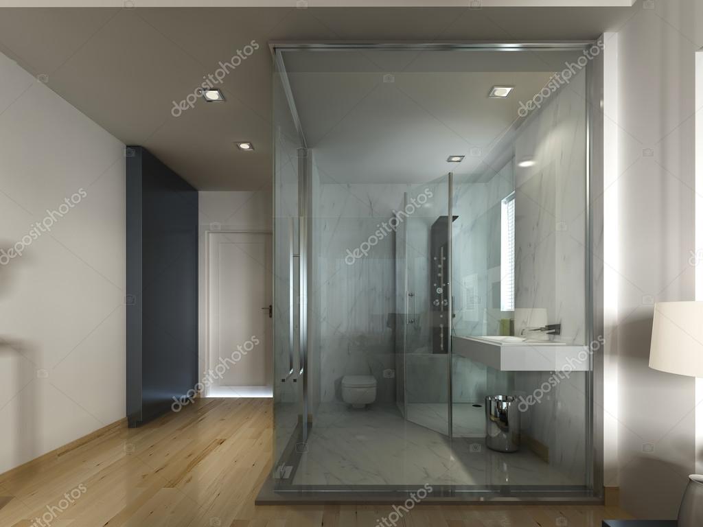 Een luxe hotelkamer in een eigentijds design met glazen badkamer