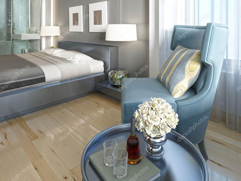 Luxe lounge stoel turquoise woonkamer — Stockfoto © kuprin33 #128160654