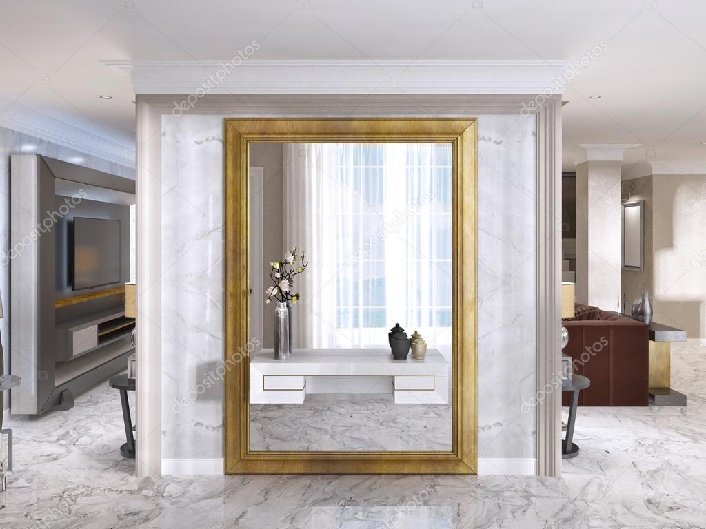 Hall de entrada luxuoso art deco com um espelho grande - Espejos para hall de entrada ...