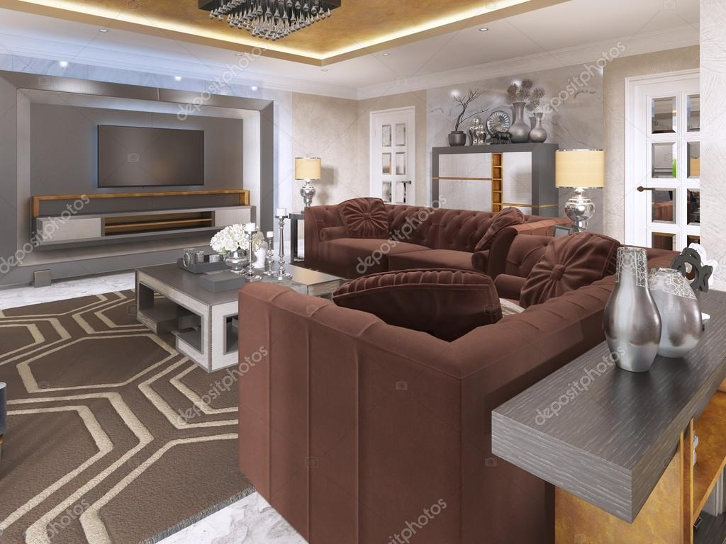 Luxurious living room in art Deco style with purple sofas ...