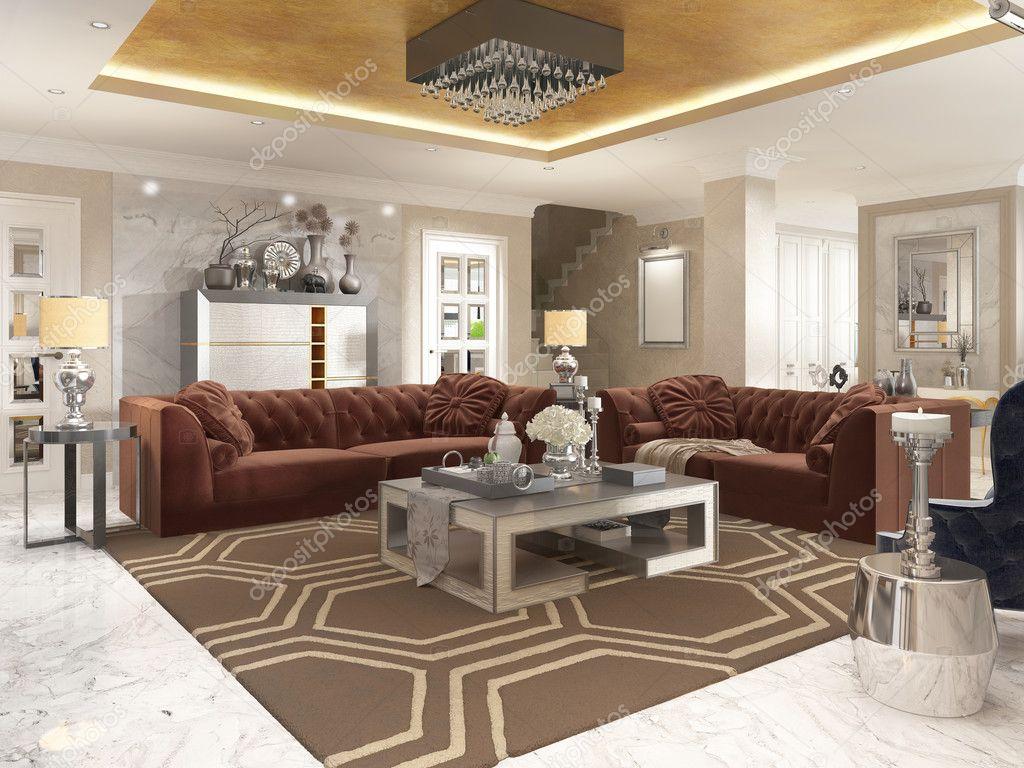 Wohnzimmer im Art-deco-Stil mit gepolsterten Designer Möbel ...