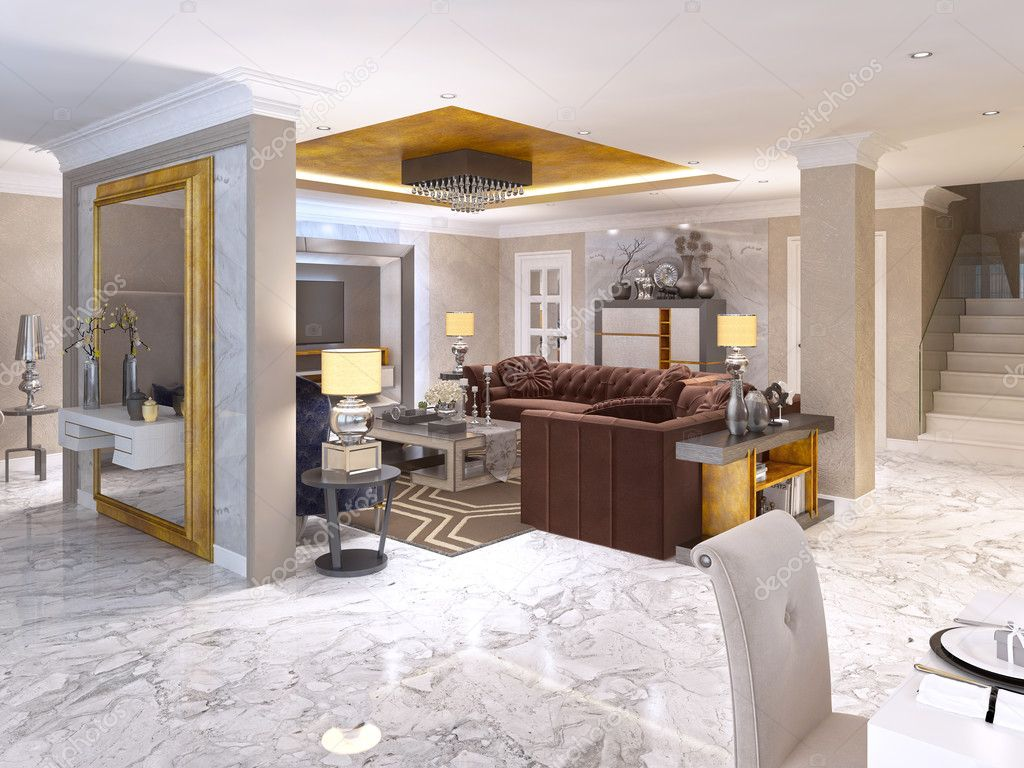 Luxuriöses Wohnzimmer Stil Art-deco-in weiß — Stockfoto © kuprin33 ...
