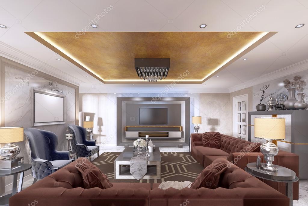 Wohnzimmer Im Art Deco Stil Mit Gepolsterten Designer Mobel