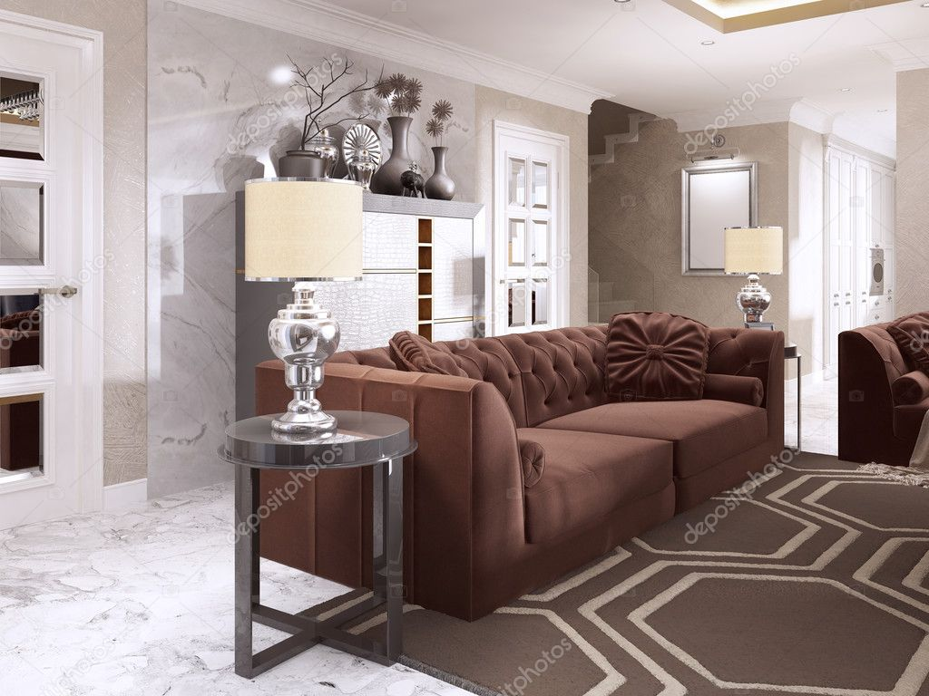 Maroon Sofa With Black Side Tables And Table Lamps. Burgundy Sofa Living  Room Style Art Deco. 3D Render. U2014 Photo By Kuprin33