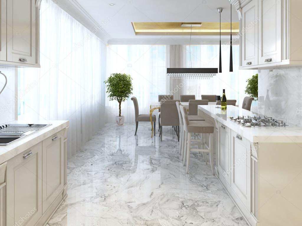 Cucina di lusso con opalino mobili in stile art déco. — Foto ...