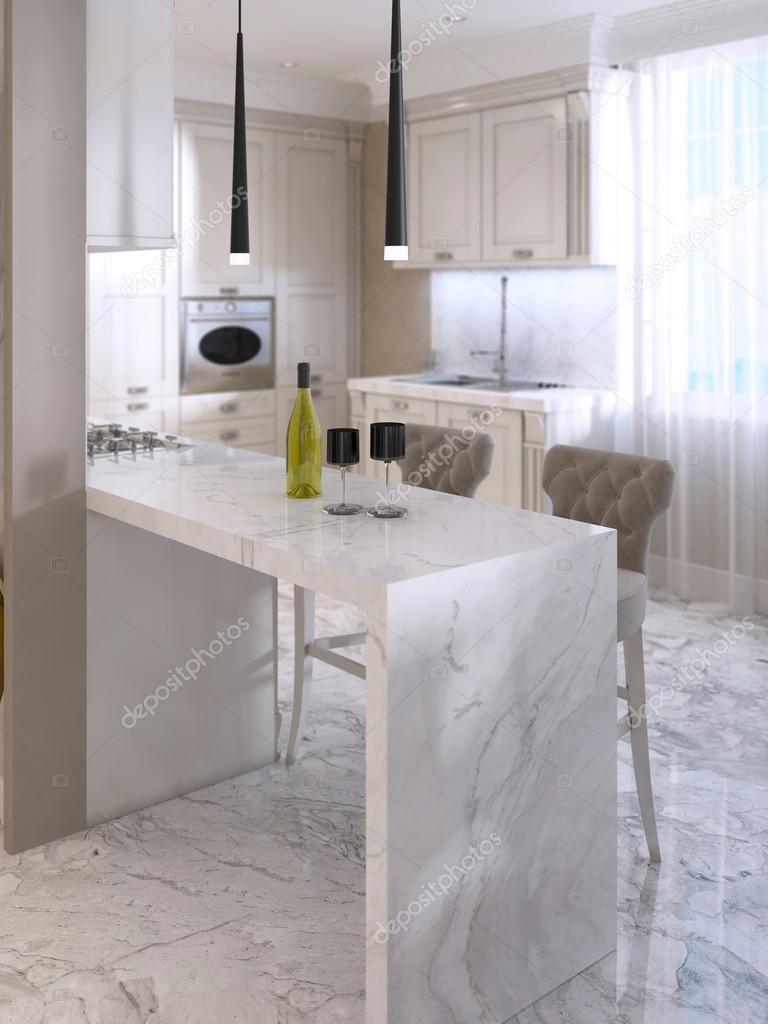 Cuisine Avec Bar Comptoir comptoir avec bar chaises dans la cuisine luxueuse — photographie