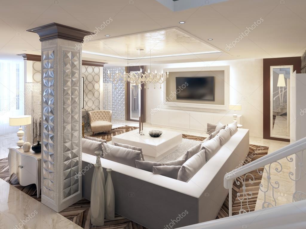 luxe art dco design lumineux salon avec grand canap et deux fauteuils conception 3d image de kuprin33