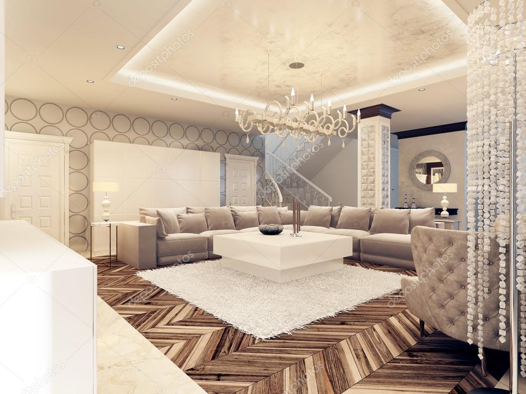 Luxe art deco design heldere woonkamer met grote hoekbank