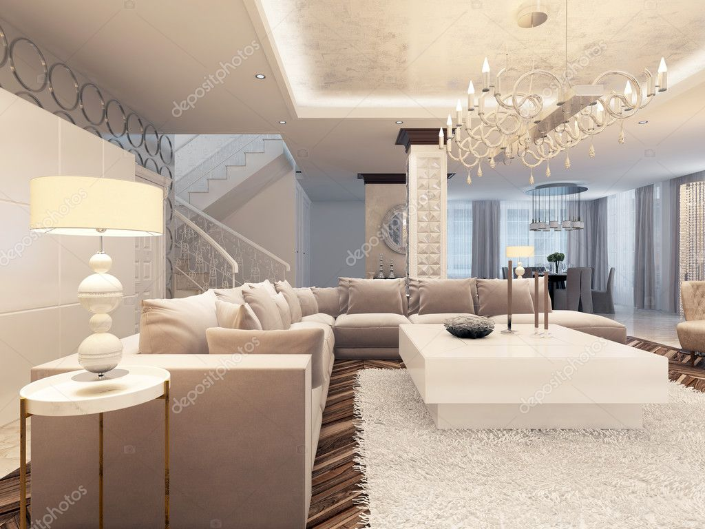 Luxury art deco design bright living room with large for Interieur de maison deco