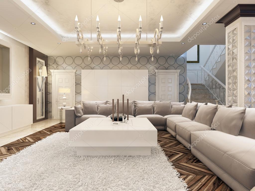 luxe art deco design heldere woonkamer met grote hoekbank stockfoto kuprin33 128161998. Black Bedroom Furniture Sets. Home Design Ideas