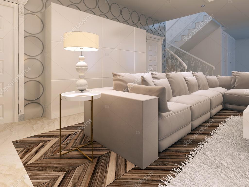 Grote witte kast in moderne woonkamer ontwerpen u stockfoto