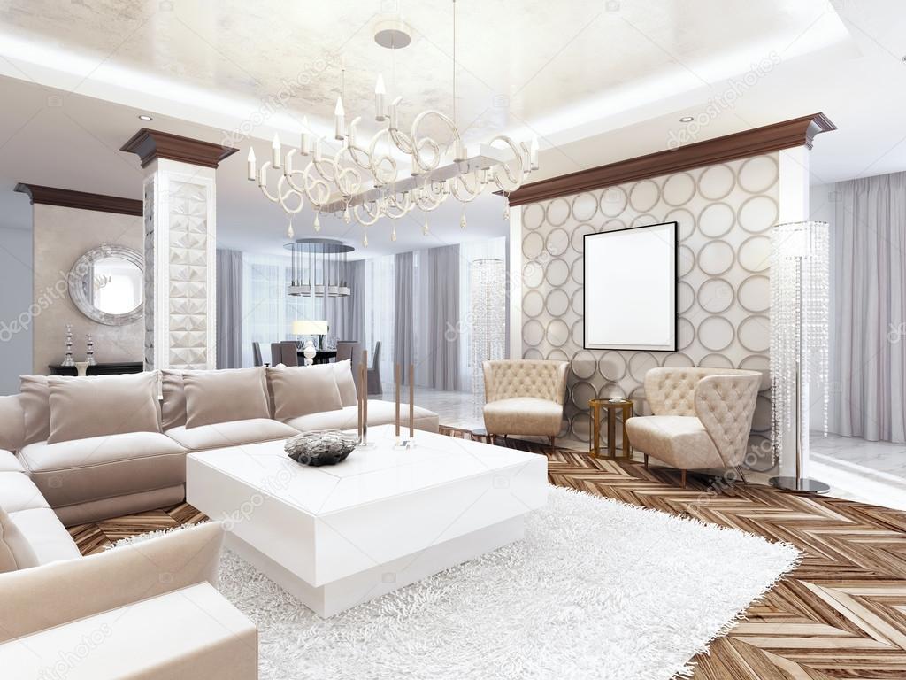 Luxe grote woonkamer stijl art deco u stockfoto kuprin