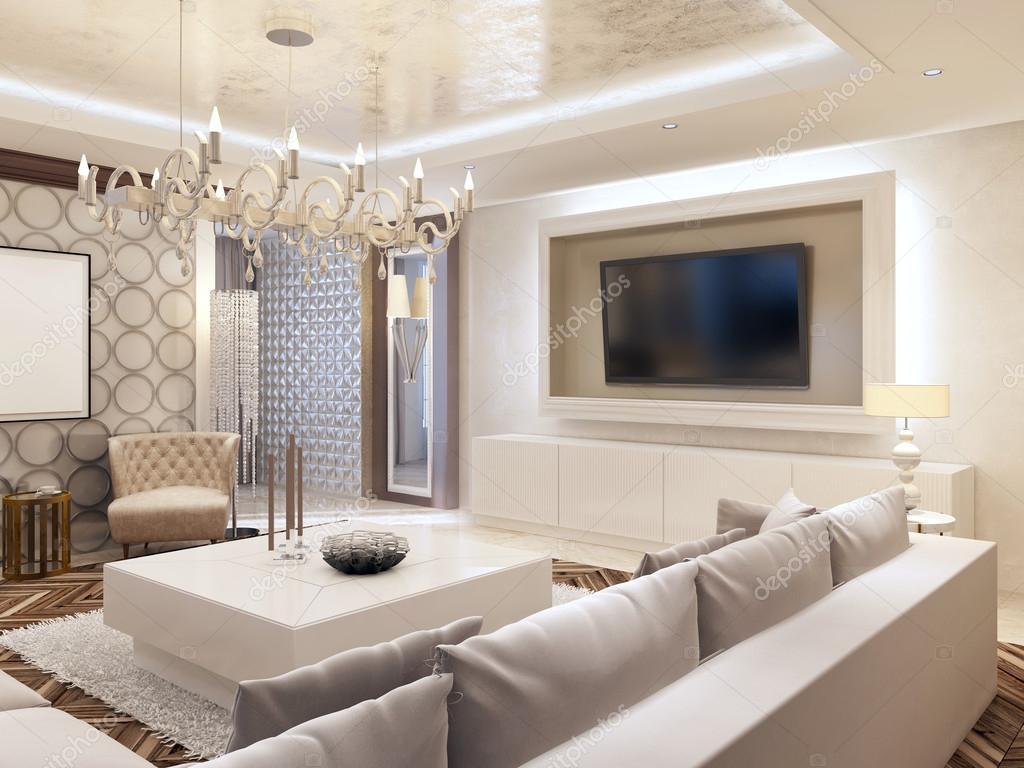 Moderna sala en colores blanco con almacenamiento de información ...