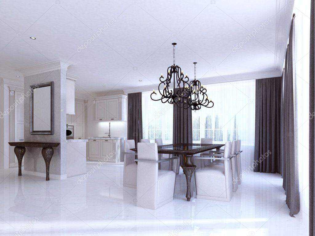 Klassische weiße Küche-Esszimmer im Stil des Art Deco — Stockfoto ...