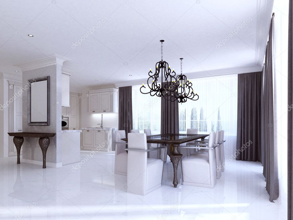Klassieke witte keuken eetkamer in de stijl van art deco