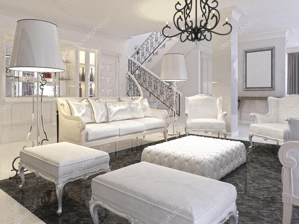 Luxe witte woonkamer met witte meubels en zwart marmeren f ...