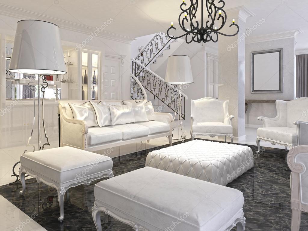 Marmer In Woonkamer : Luxe witte woonkamer met witte meubels en zwart marmeren f
