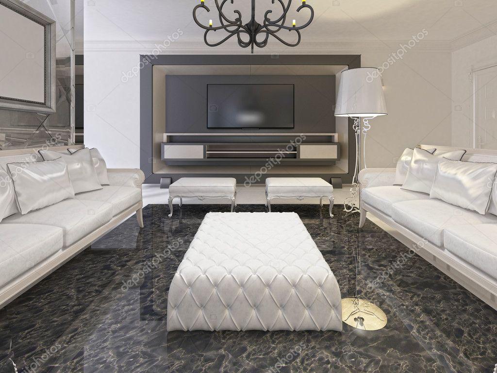 Witte luxe woonkamer interieur en zwarte opslag tv in een deco