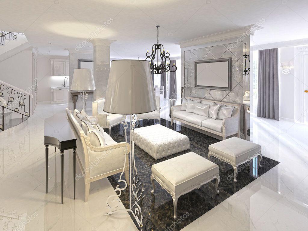 Art deco woonkamer ontwerp met witte meubels zwarte console