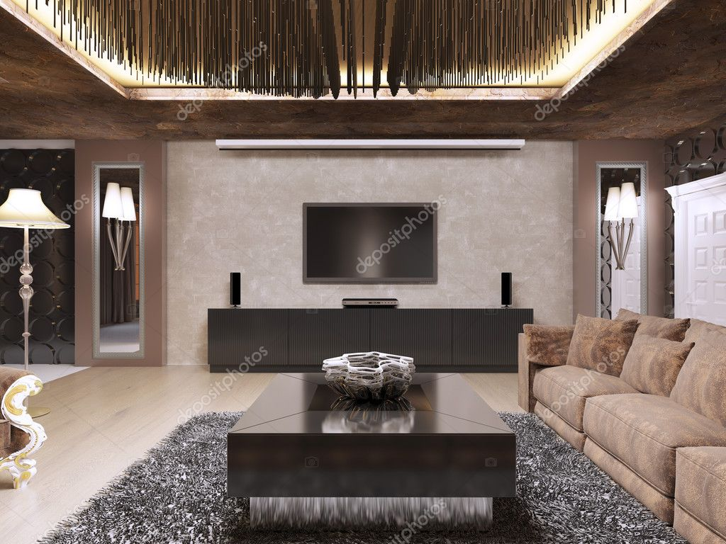 Hervorragend TV Gerät Im Luxus Wohnzimmer Im Modernen Stil Gestaltet. Das Design Ist In  Braun Und Gelb Farbe Hergestellt. 3D Render U2014 Foto Von Kuprin33