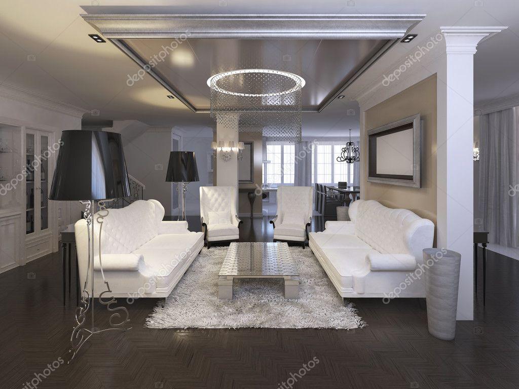 Sedie Bianche Design : Salone lussuoso design con sedie bianche e divano u foto stock