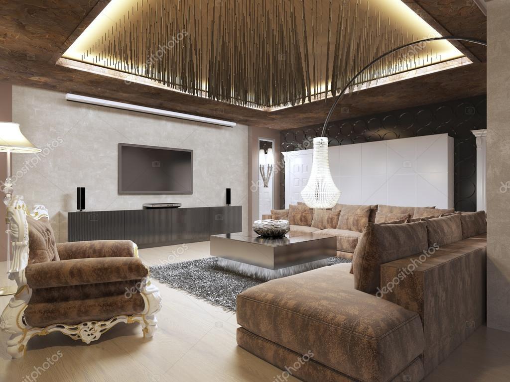 Luxe moderne woonkamer gedaan in de art decostijl u stockfoto