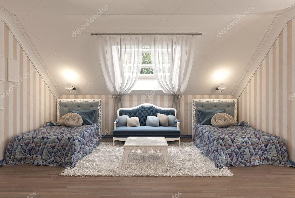 Luxus Kinderzimmer Für Zwei Kinder Mit Zwei Einzelbetten U2014 Stockfoto  #128163616