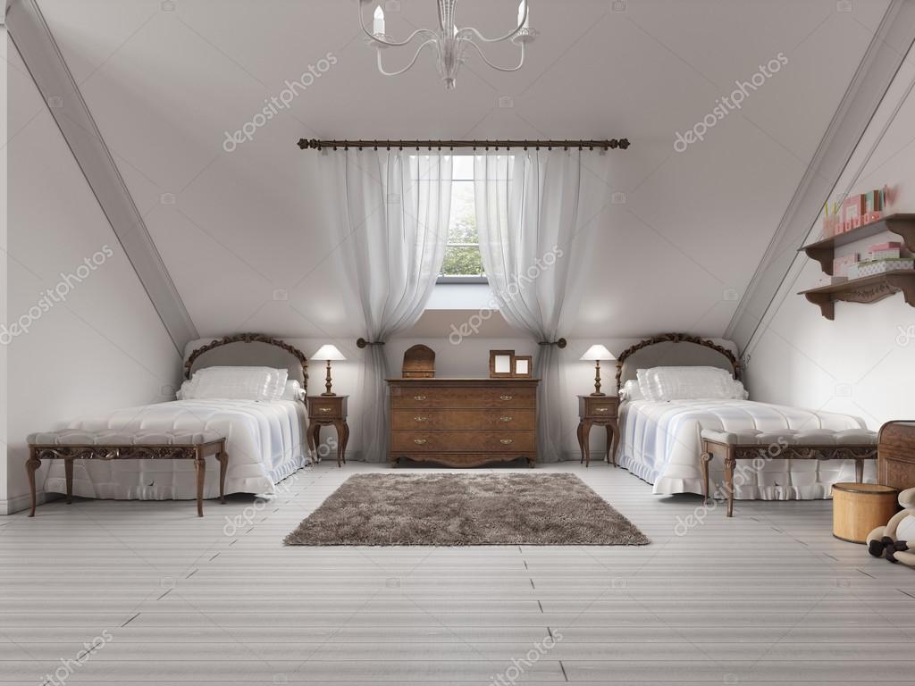 Kinderkamer Kinderkamer Bedden : Luxe kinderkamer met twee bedden en een dakvenster u stockfoto