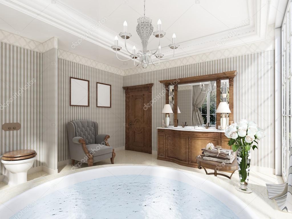 Klassieke badkamers met luxe badkamermeubels en een lounge cha