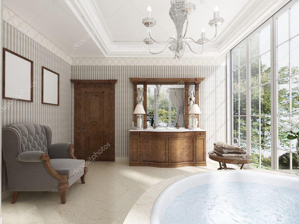 Klassisches Bad Mit Luxus Badezimmer Möbel Und Eine Lounge Cha U2014 Stockfoto