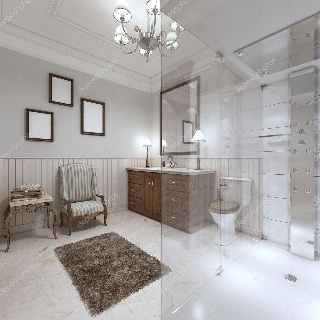 Bagni luminosi in stile inglese con ampia doccia in vetro foto stock kuprin33 128164930 for Vasca da bagno in inglese