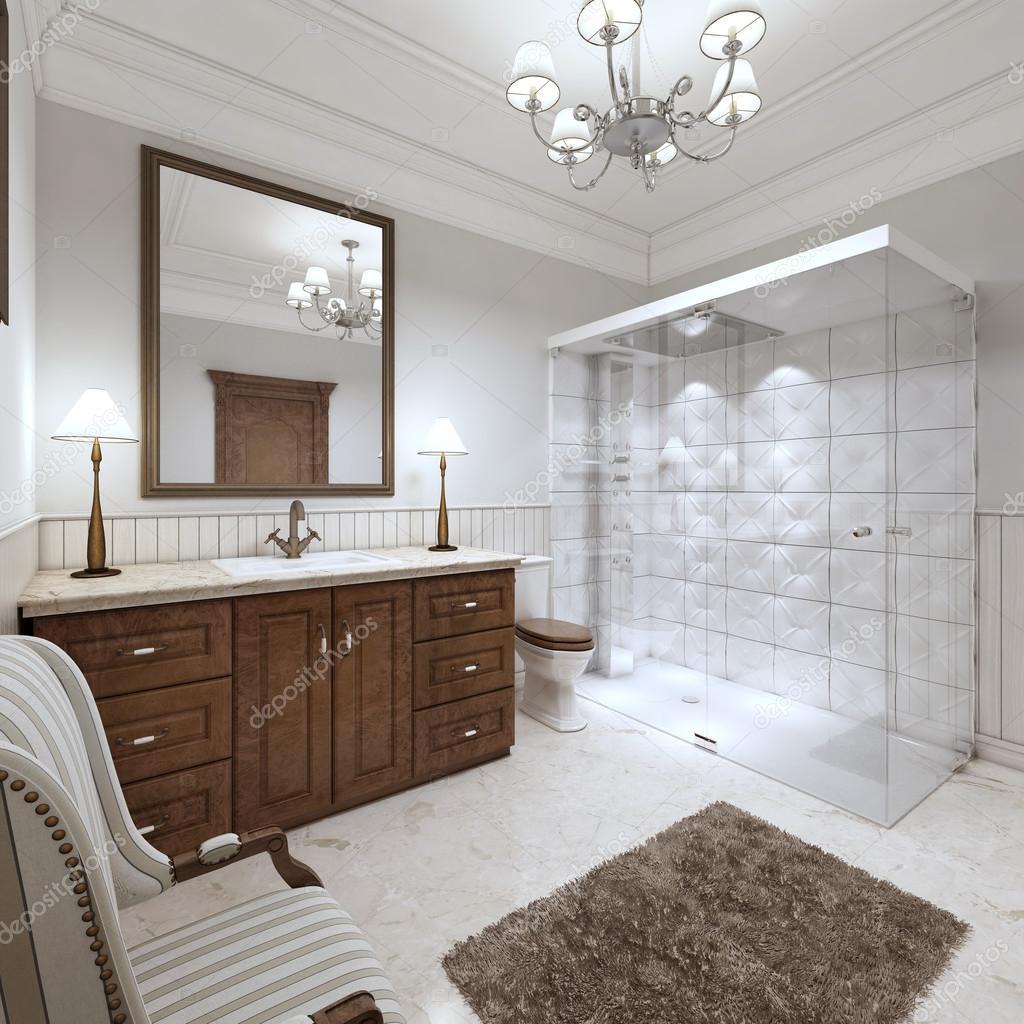 Bagni luminosi in stile inglese con ampia doccia in vetro foto stock kuprin33 128164970 for Vasca da bagno in inglese