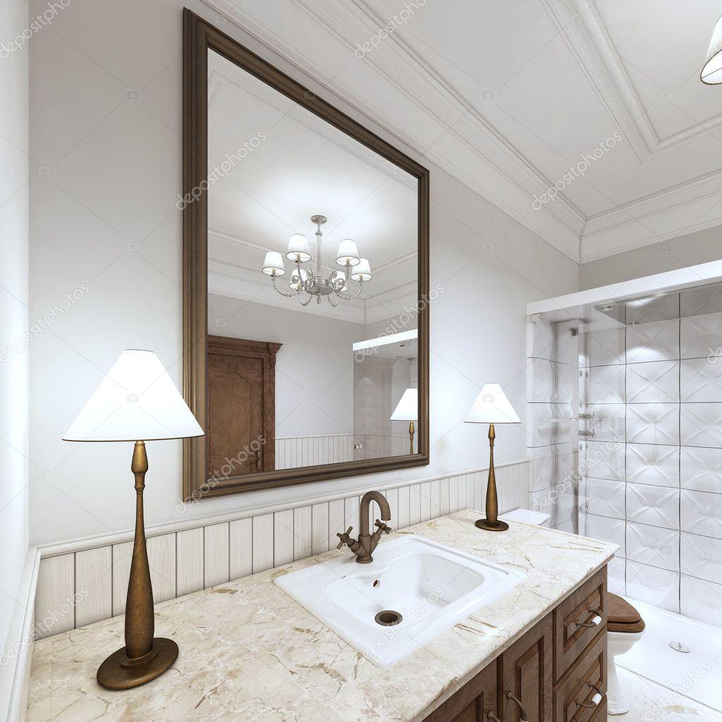 Mobili lavabo bagno lavabo con un banco di marmo — Foto Stock ...