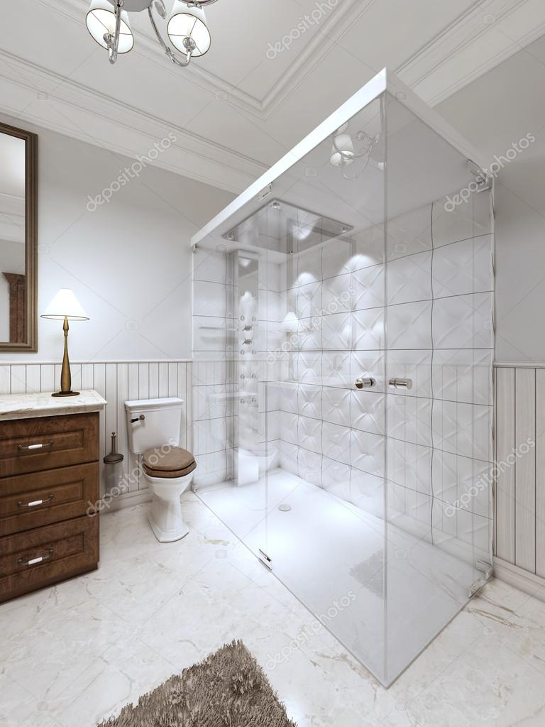 Bright Bathroom In The English Style With Large Glass Shower And Brown  Bathtub Furniture. 3D Render. U2014 Photo By Kuprin33