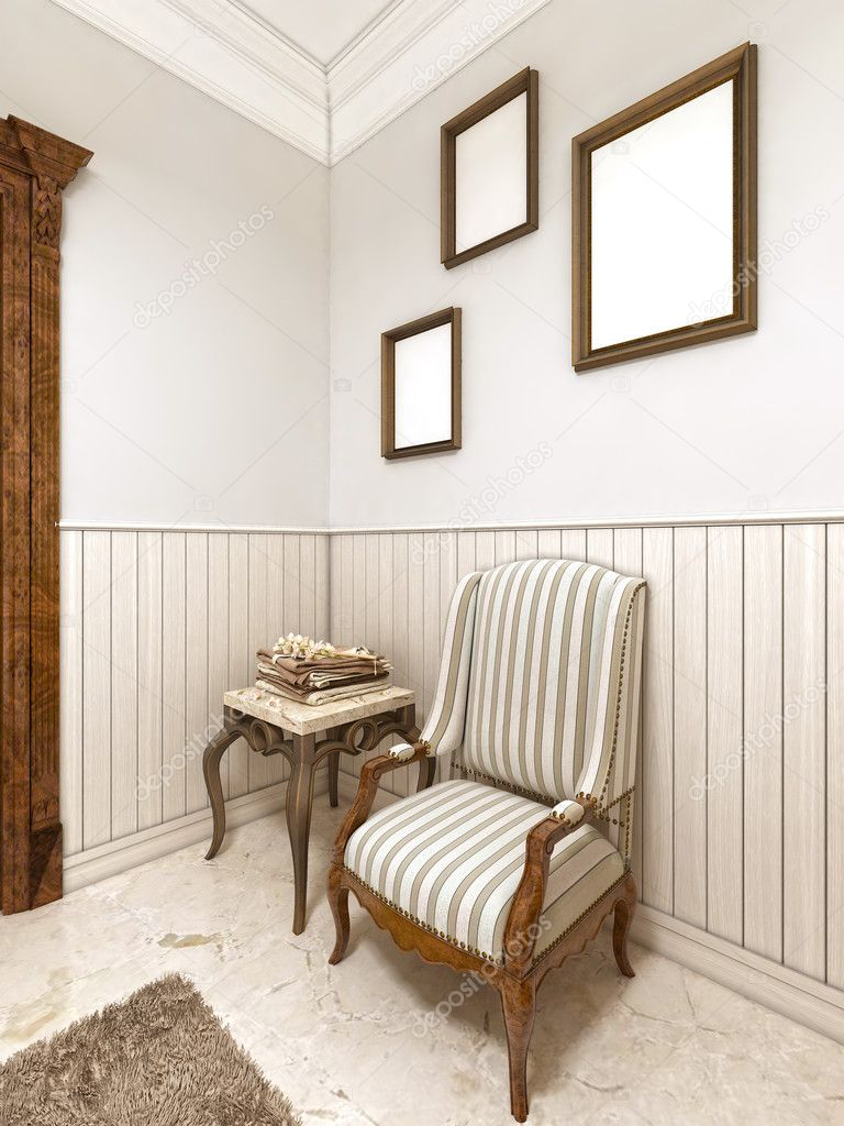 Une Chaise Confortable Dans Le Linge De Table Classique Basse Style