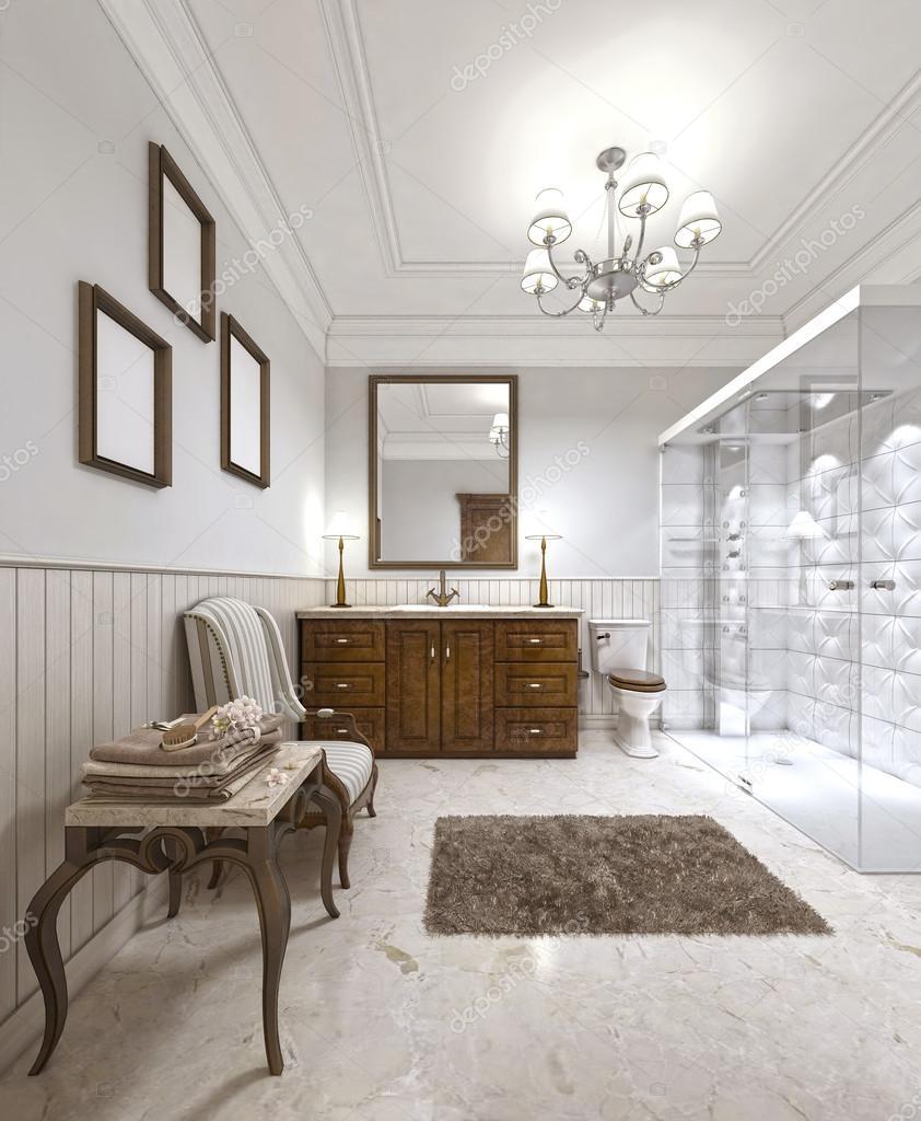 Baño muy hermoso con un estilo inglés contemporáneo. — Foto de stock ...