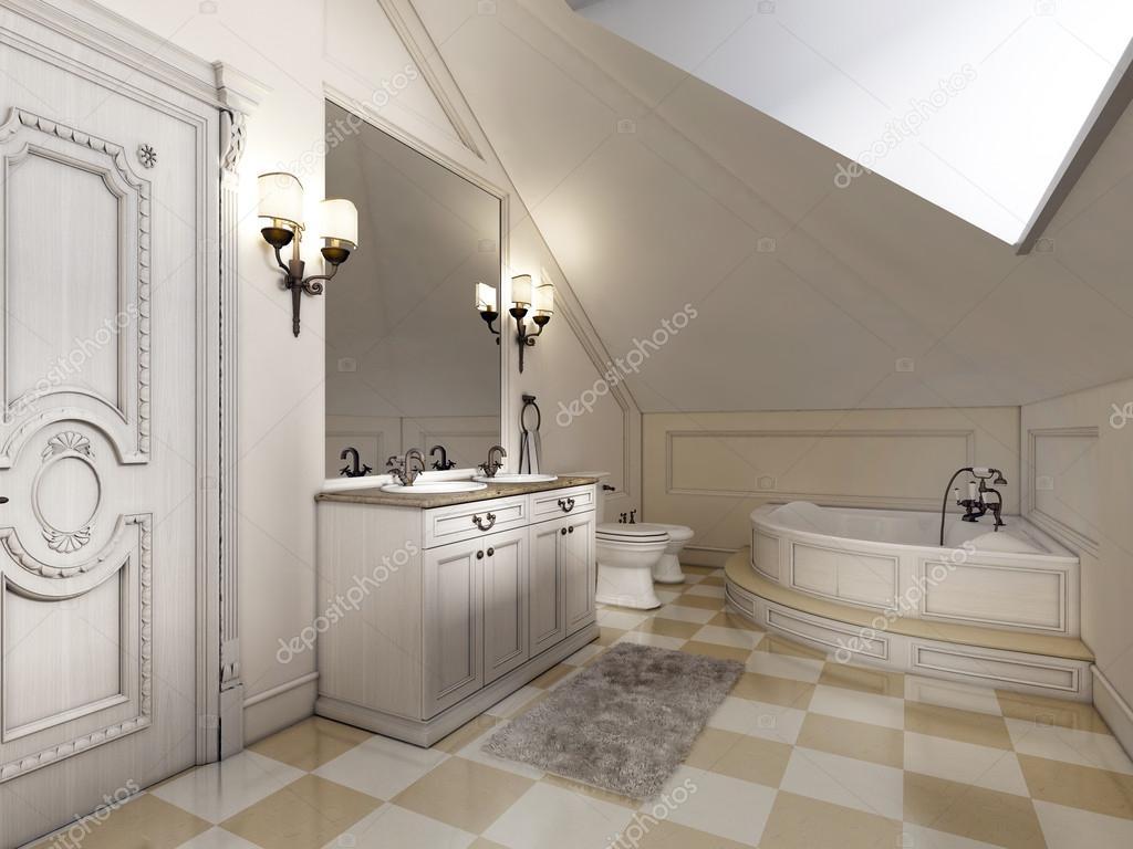 Bagno bella e luminosa in stile provenzale con furni beige u foto