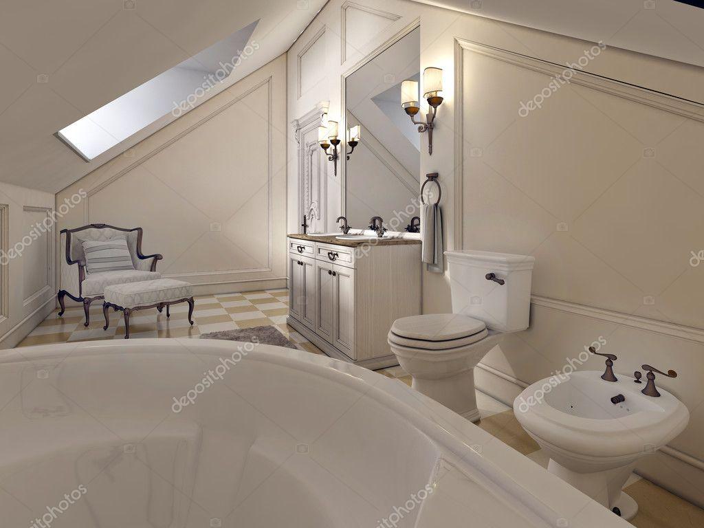 Bagno di lusso al piano attico in stile provenzale — Foto Stock ...