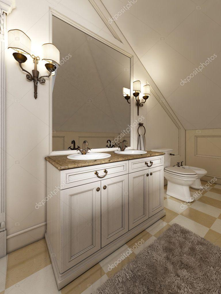 Lavandino bagno bianco con grande specchio e applique ai lati del th foto stock kuprin33 - Applique bagno specchio ...
